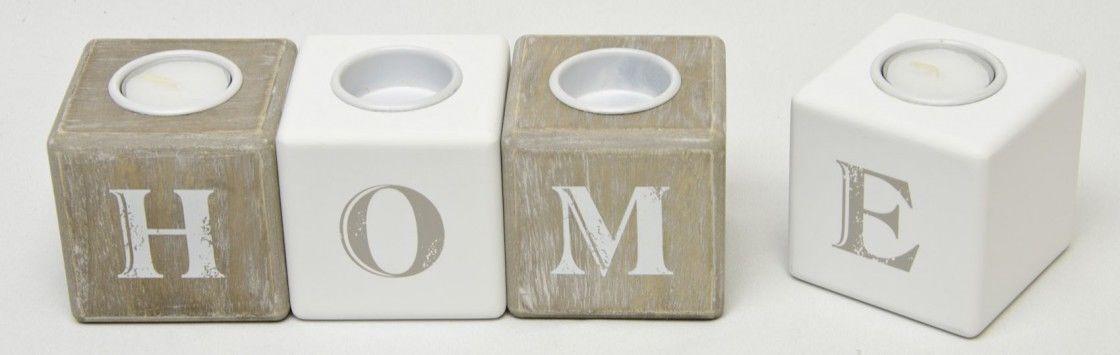 """Teelichthalter aus Holz 4- teilig in Würfelform mit Metallhalter """"HOME"""" de.picclick.com"""