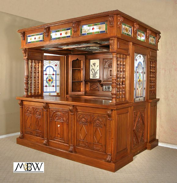 English Pub Home Bar Design: 8Ft Carved Solid Mahogany English Lead Glazed Stained