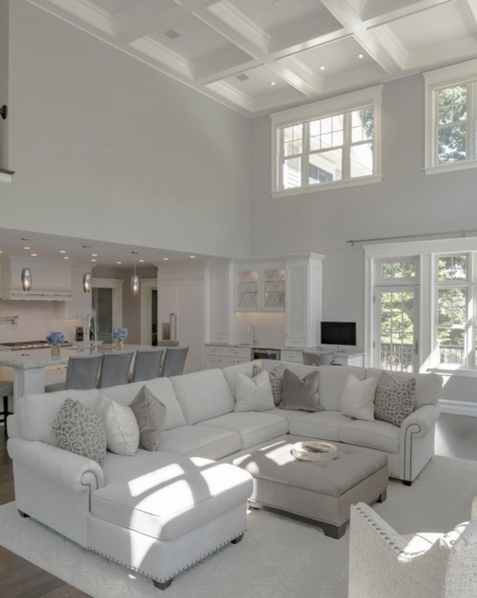 Traditional White Living Room Decor With U Sectional Living Room