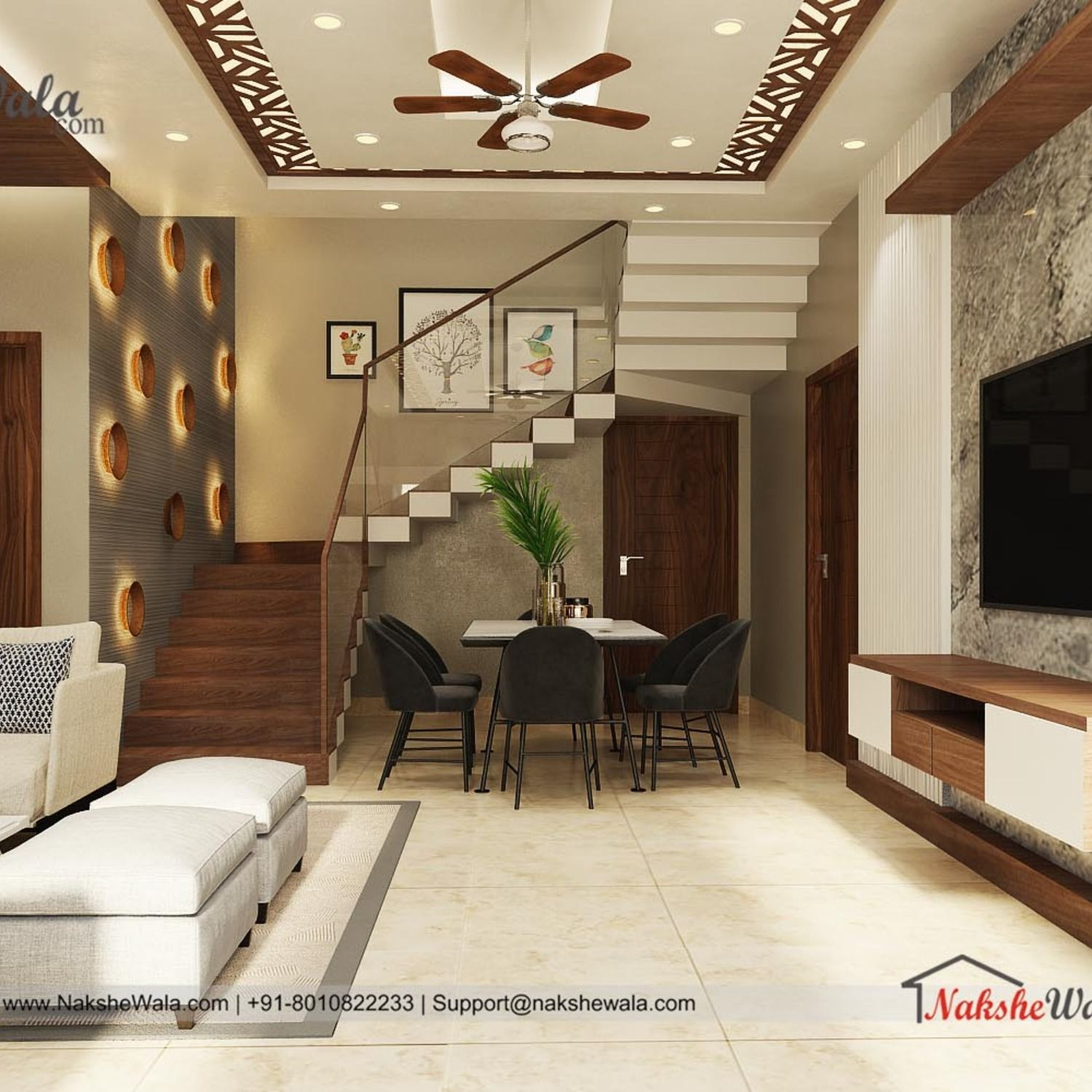 Modern Living Room Interior Designed By Nakshewala Com In 2020   False Ceiling Designs For Staircase   Simple   Interesting   Square   Entrance Lobby   Decor