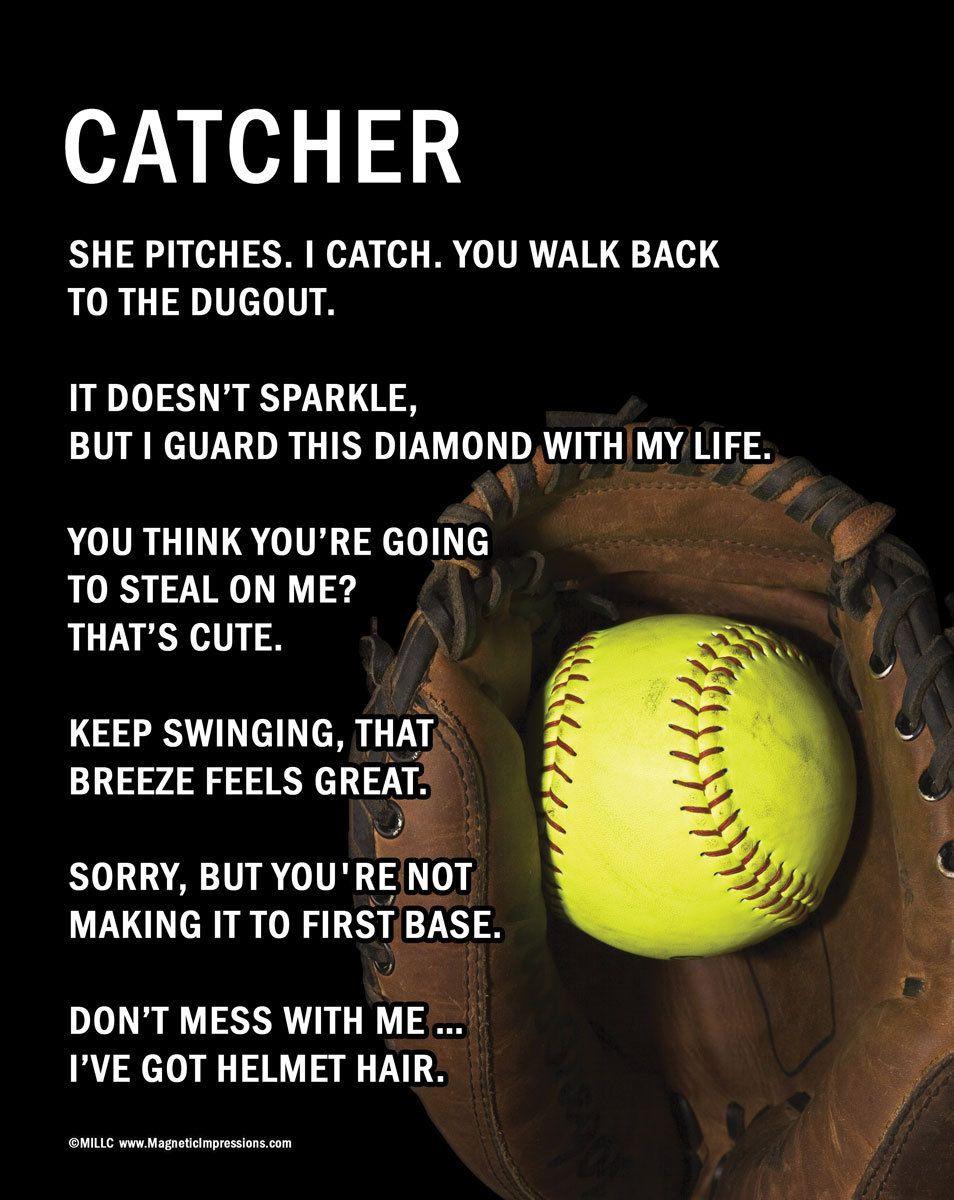 Softball Life Quotes Softball Catcher 8X10 Sport Poster Print  Softball Catcher
