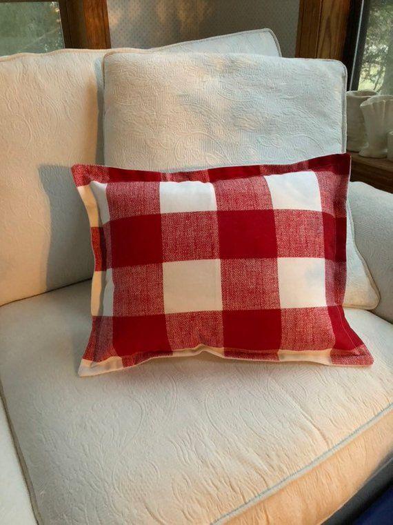 Red Buffalo Check Pillow 12 X 16 Lumbar Pillow Red Plaid Red White Checked Pillow Sham Handmade Buffalo Check Pillows Pillows Pillow Shams
