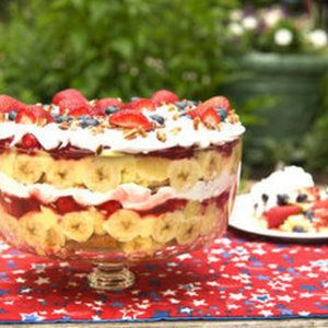 Strawberry, banana layered Punch Bowl Cake