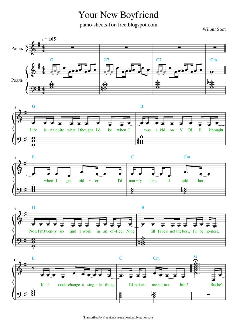 Your New Boyfriend piano sheet Wilbur Soot in 2021