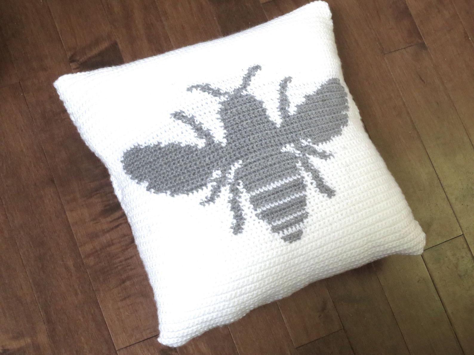 Crochet Pattern Bumble Bee Pillow Crochet Pillow DIY Decoration Farmhouse Style Home Decor Boho Easter Decor Bee Crochet Cushion Pattern