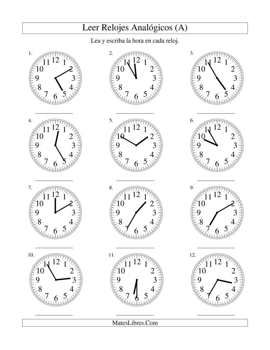 La hoja de ejercicios de Leer la Hora en un Reloj Analógico en ...