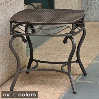 International Caravan Valencia Resin Wicker Steel Frame Outdoor Side Table Ping S On Coffee