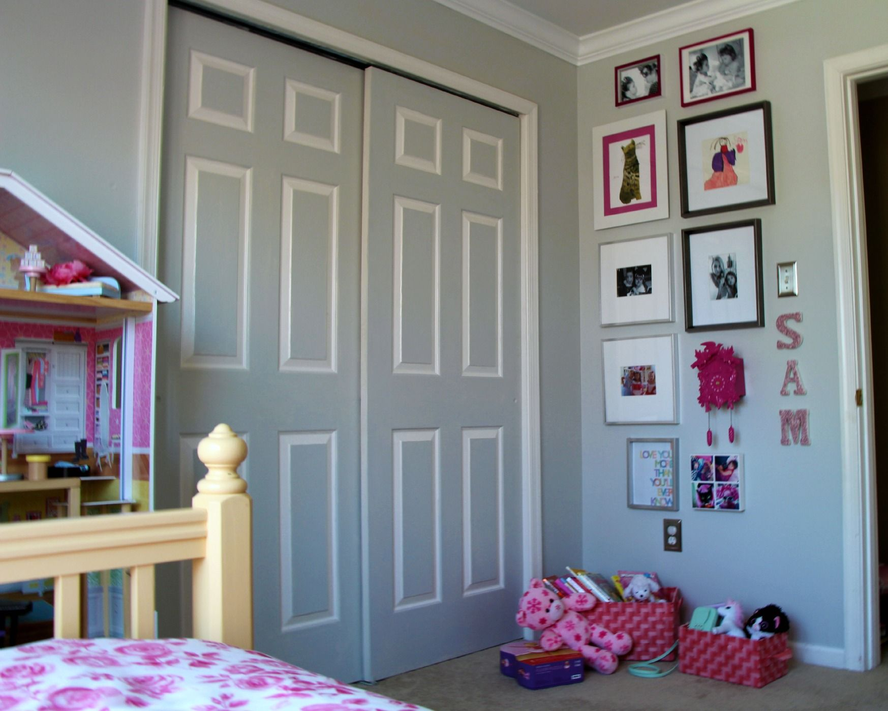 TIP: TO MAKE THE ROOM SEEM BIGGER PAINT CLOSET DOORS THE SAME AS WALL COLOR  Little Pink Monster:: Not Too Princess Girls Bedroom Makeover