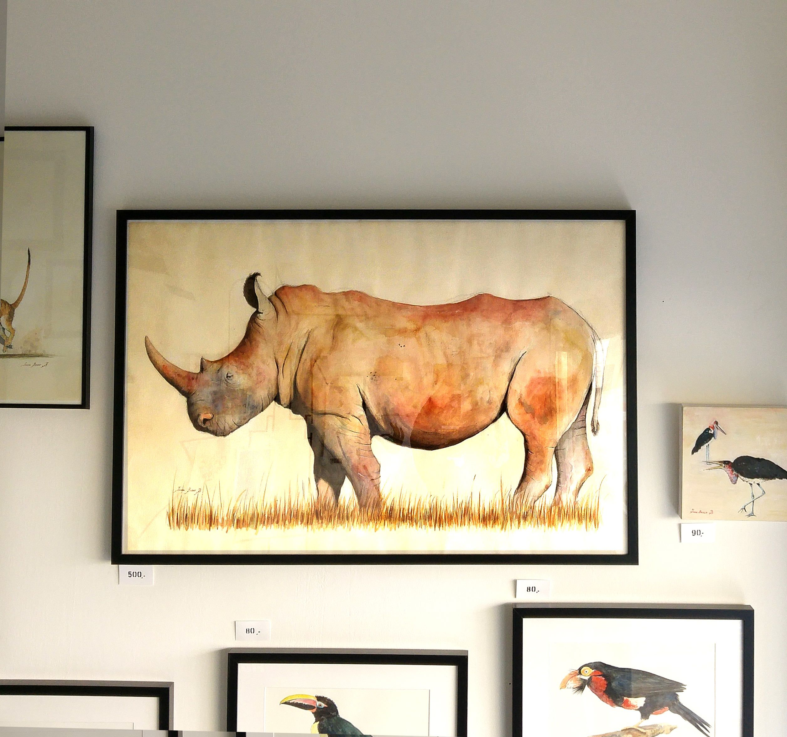 Large White Rhino watercolor painting - rhino art wall - large ...