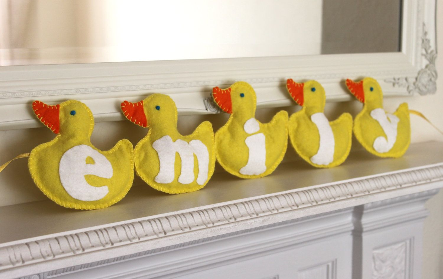 Baby name banner rubber duckies, wall hanging, new baby ...
