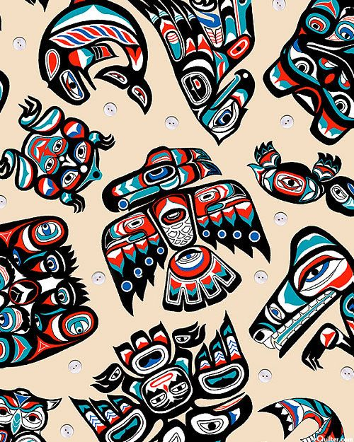 Pacific Northwest Totem Animals - Multi/Natural