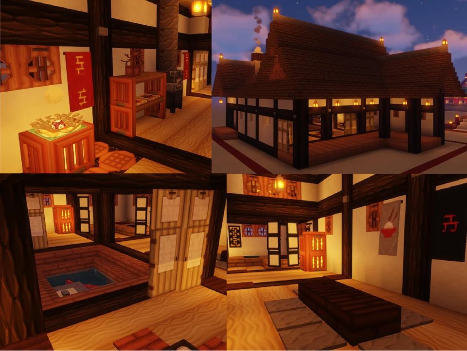 Some of the interior details from a Traditional style Japanese house I built the top left I have a working incense burner below is the courtyard with Coy pond Taken with Sildurs Vibrant shaders and Vanilla BDCraft