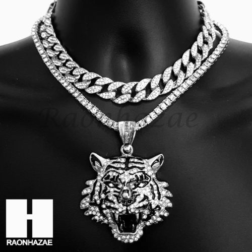 60a479ee7e4 Hip Hop Iced Out Silver Drake Tiger Miami Cuban Choker Tennis Chain Necklace  BS