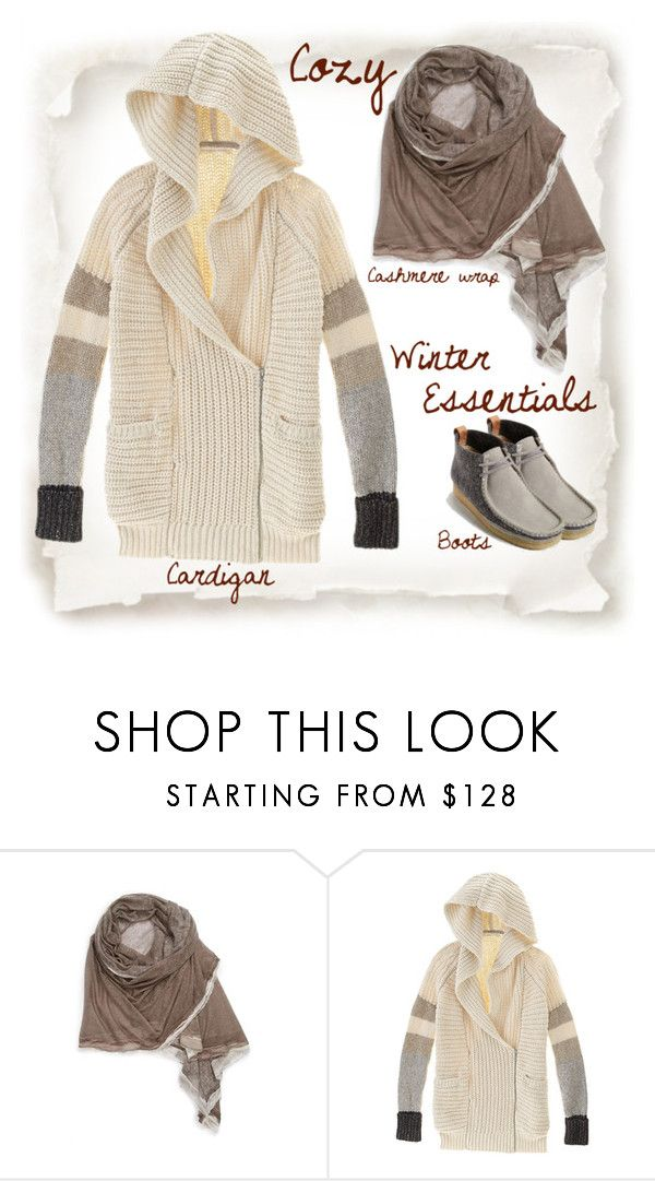 """Cozy Comforts"" by musicfriend1 ❤ liked on Polyvore featuring La Fiorentina, Clarks, Boots, cozy, cardigan, winteressentials and CashmereWrap"