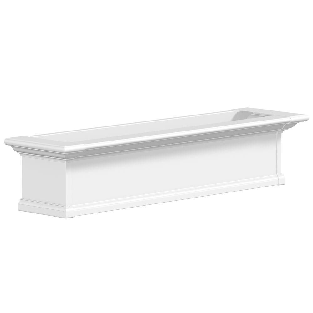 Mayne 48 In X 12 In White Plastic Self Watering Window Box 4824w The Home Depot Window Planter Boxes Window Box Yorkshire Window Box