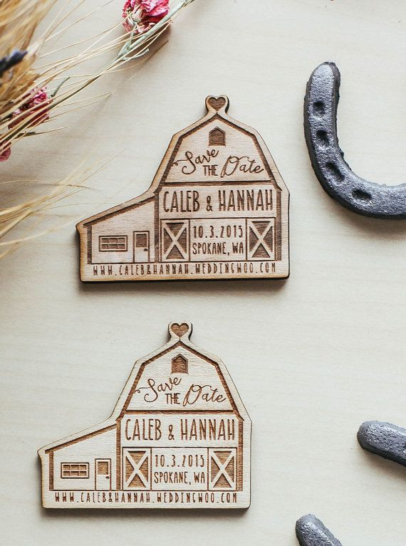 Custom Engraved Save the Date Barn Wedding by RedCloudBoutique