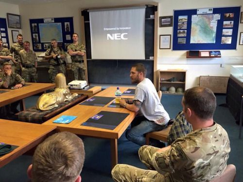 Tom visiting at the 45 Commando in Arbroath today! (July 13, 2015).