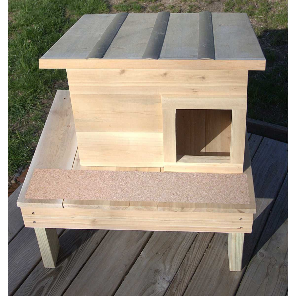 Photo of Double Deck Outdoor Cedar Wood Cat House Shelter – CatsPlay Superstore