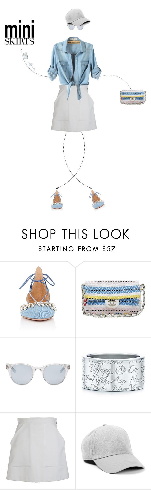 """Mini Skirt Doll"" by christine-sacco ❤ liked on Polyvore featuring Aquazzura, Chanel, Sun Buddies, Tiffany & Co., MSGM and MINISKIRT"