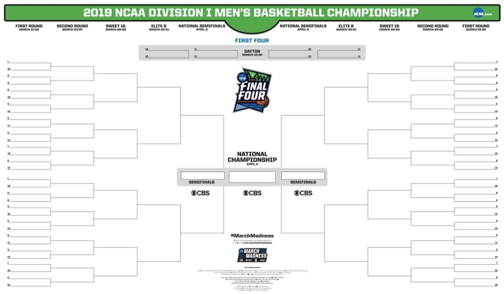2019 March Madness Bracket Kid Activies Printable Ncaa Bracket