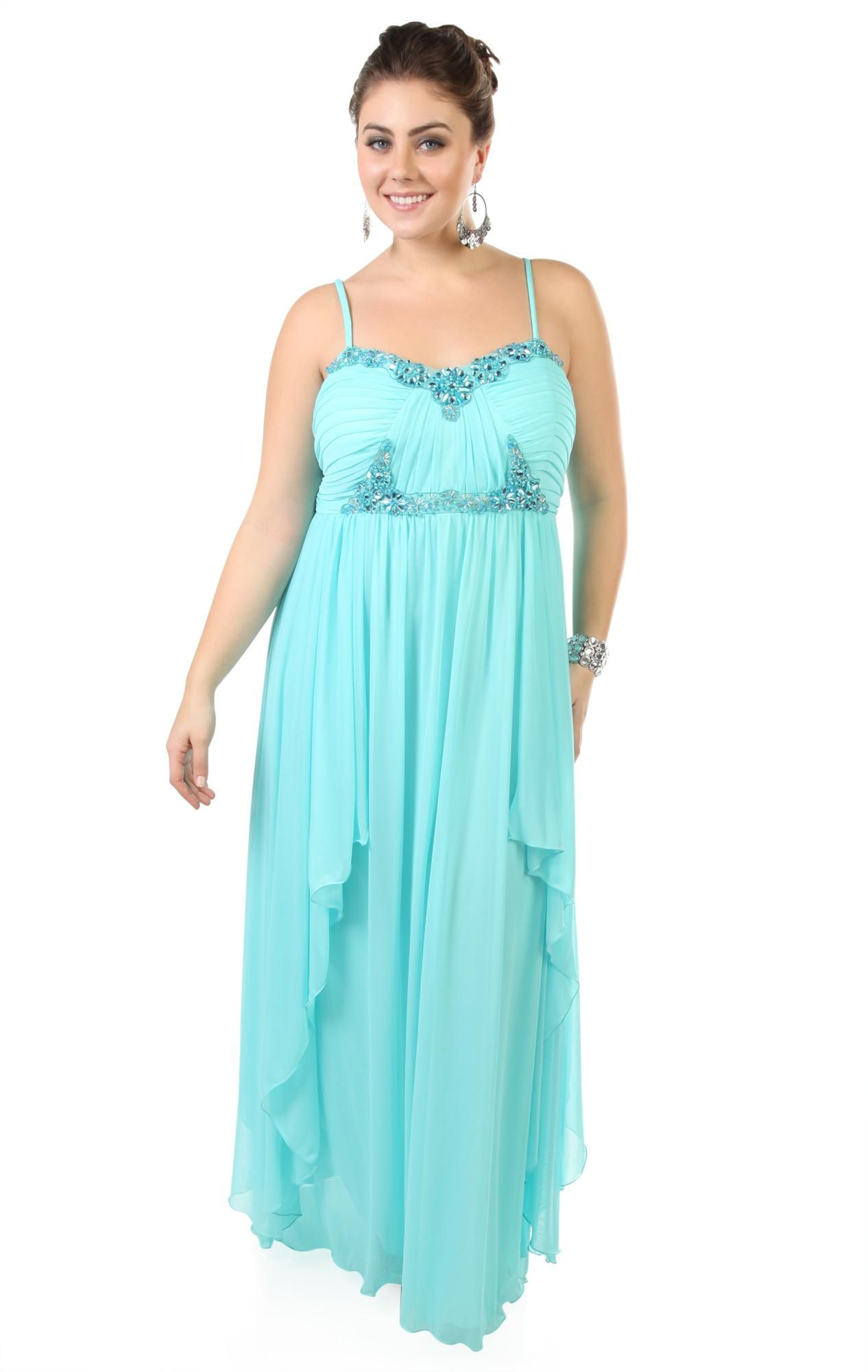 plus size long prom dress with asymmetrical skirt and beaded bust ...