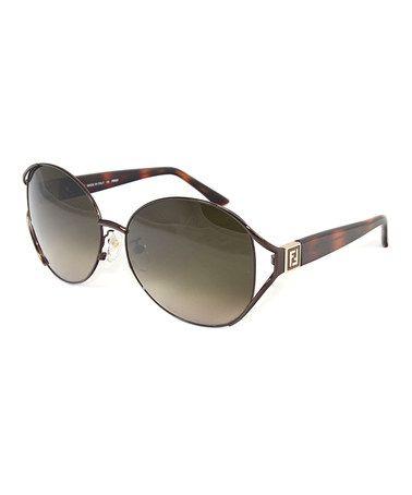 Loving this Dark Brown Cutout Round Sunglasses on #zulily! #zulilyfinds