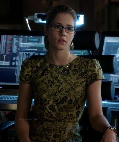 Felicity's yellow lace dress on Arrow.  Outfit Details: https://wornontv.net/15877/ #Arrow
