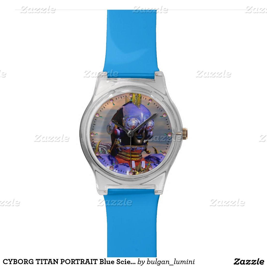CYBTITAN PORTRAIT Blue Science Fiction Scifi Wrist Watches