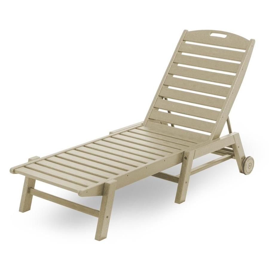 POLYWOOD Nautical Stackable Plastic Chaise Lounge Chair With Slat Seat