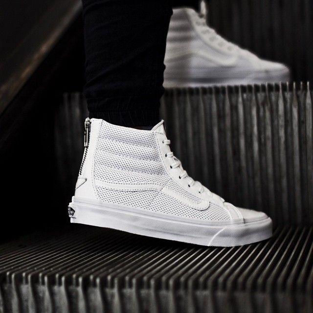 ffd8632391 Vans Women s SK8-Hi Slim Zip Perforated Leather  True White ...
