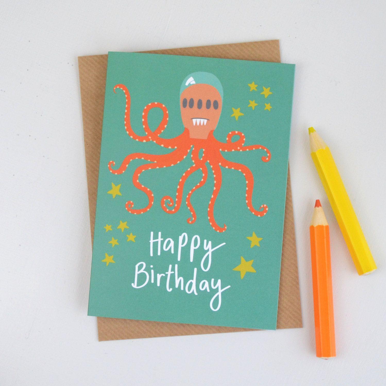 Alien birthday card octopus alien card childrens alien birthday new to hannahstevensshop on etsy alien birthday card octopus alien card childrens alien birthday card kids birthday card illustrated greetings card cards kristyandbryce Choice Image