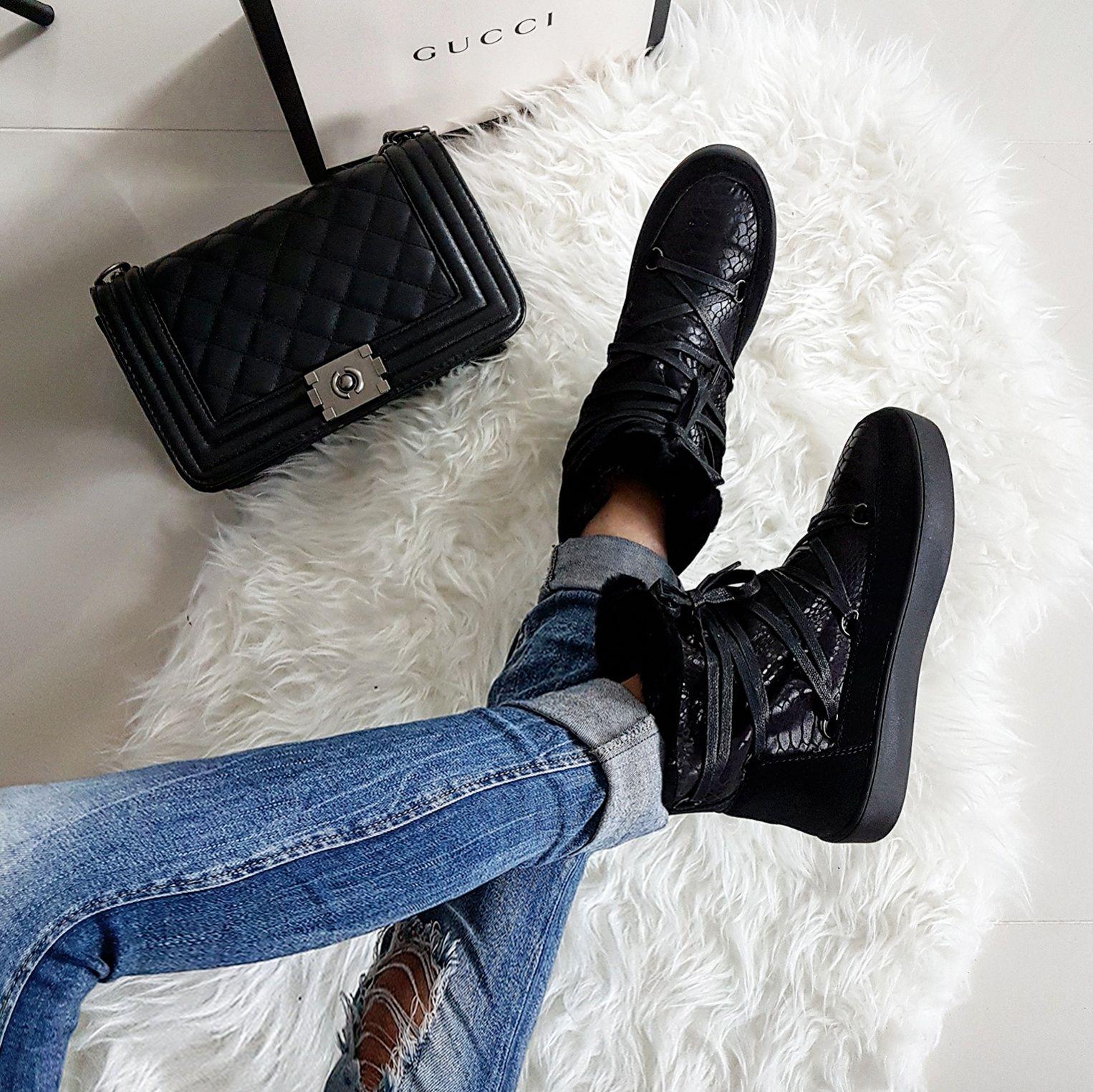 Kozaki Czarne Pikowane Sznurowane Oficerki Combat Boots Shoes Boots