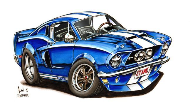 1968 Gt 500 Mustang By Adstamper Eric S Cartoon Car Drawing Art
