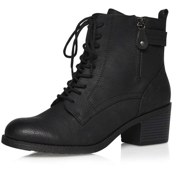 Dorothy Perkins Black 'believe' lace up boots (€36) ❤ liked on Polyvore featuring shoes, boots, black, black laced shoes, black shoes, black lace up shoes, front lace up boots and black laced boots