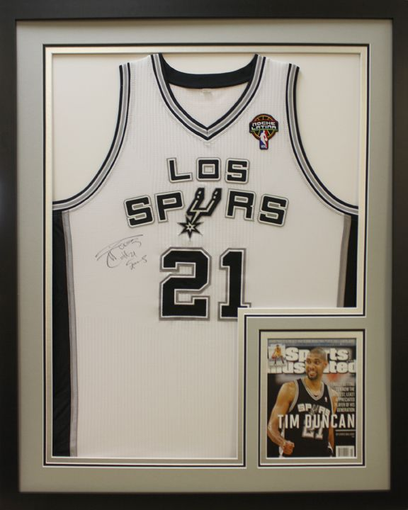 los spurs signed basketball jersey frame