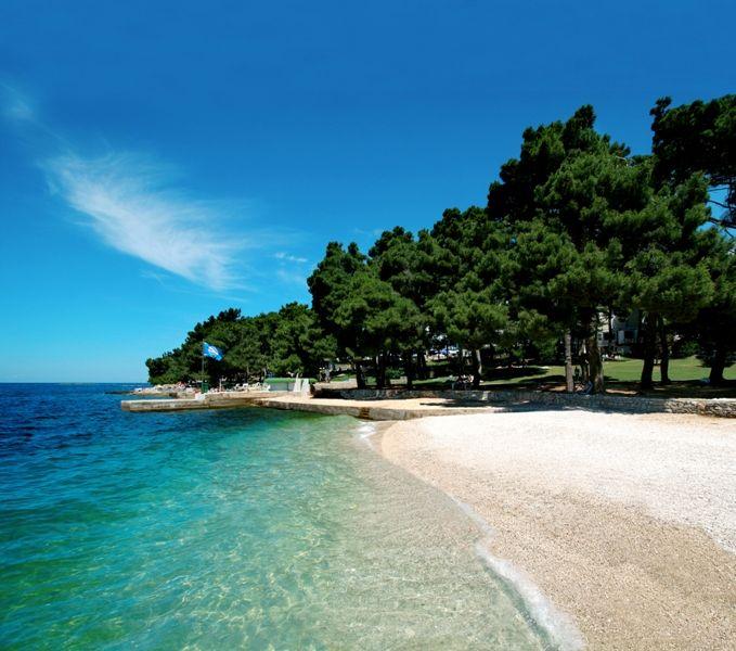 Beach at the Zelena Laguna resort Porec Hotel Laguna