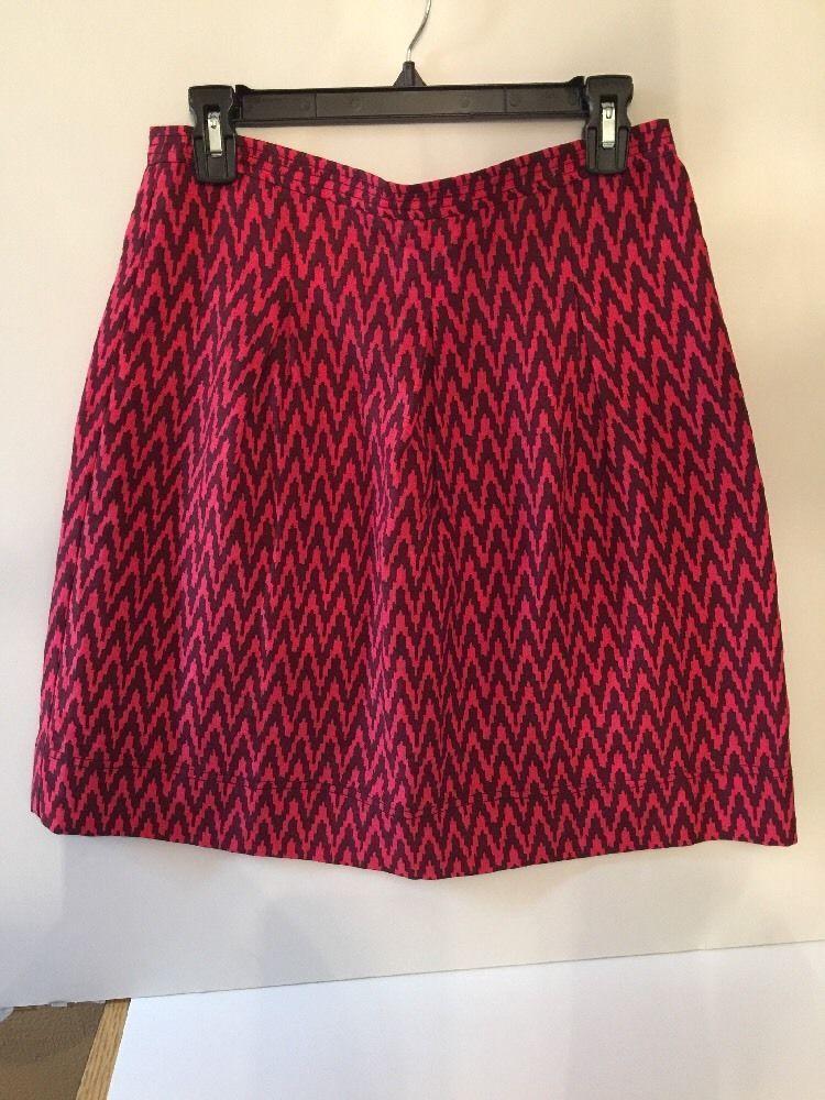 Ann Taylor Loft Women's Size 4 Fushia Pink and Burgandy Wine Chevron Skirt | eBay