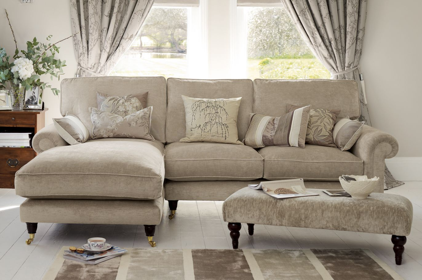 Kingston Sectional Sofa With Chaise In Sable Beige From Laura