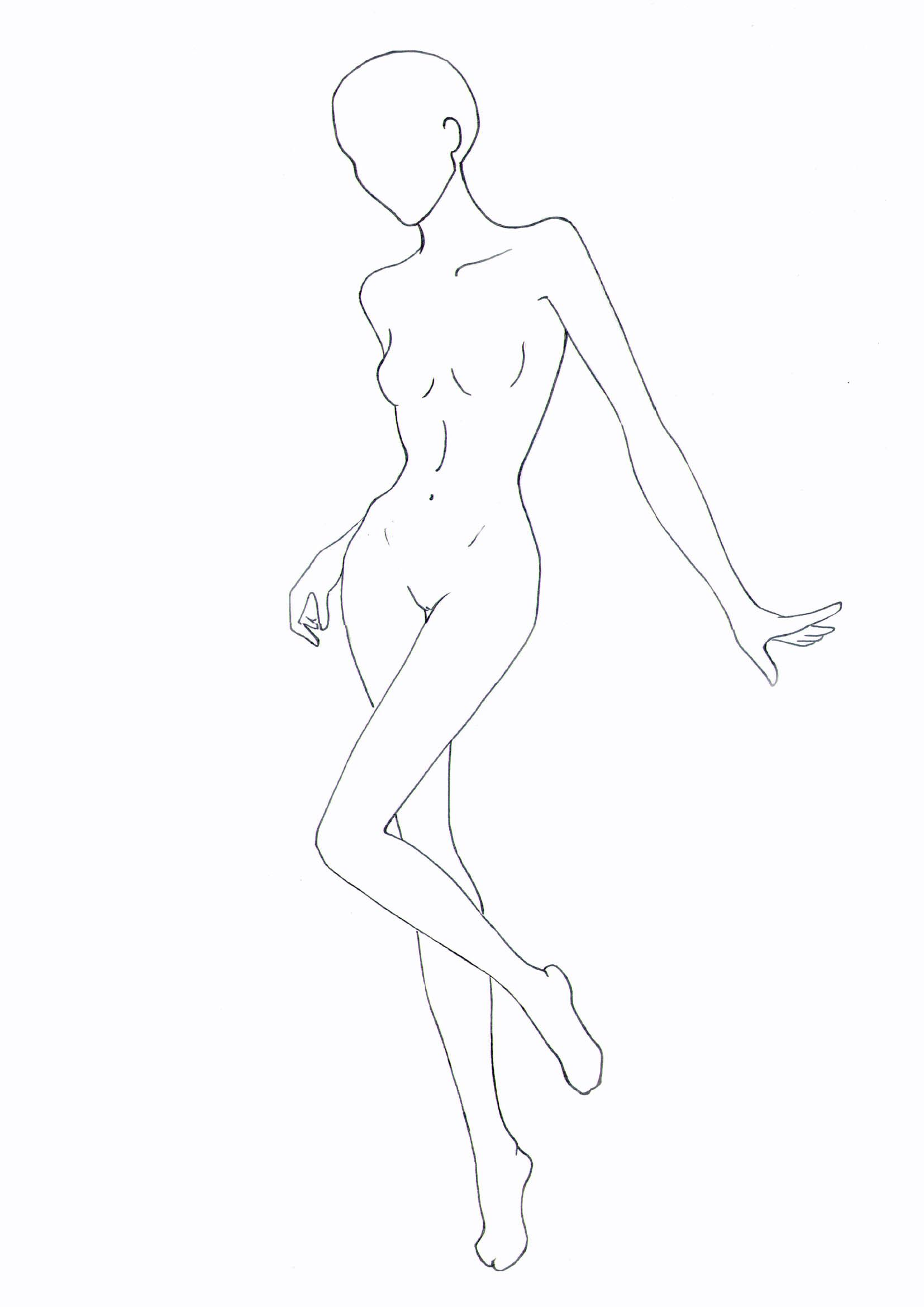 Fashion Model Outline : fashion, model, outline, Figure, Template, Fashion, Model, Drawing,, Illustration, Template,, Sketch