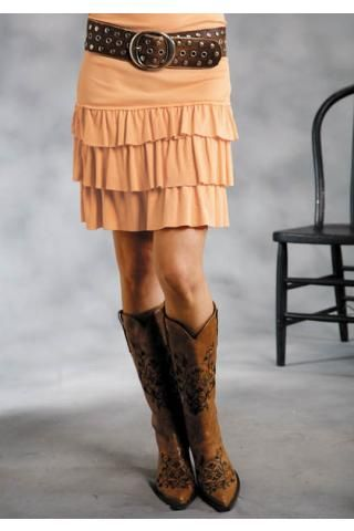 e55c0b15254 Women s Orange Roper 7487 Ruffled 2x1 Rib Mini Skirt Five Star Fr Western  Clothing