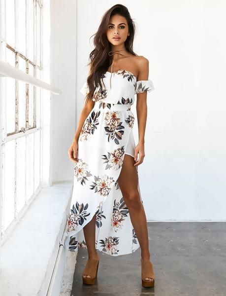 DETAILS - White floral maxi dress - Off the shoulder - Sexy side leg split - Sophia is wearing a size6 MATERIAL - Polyester