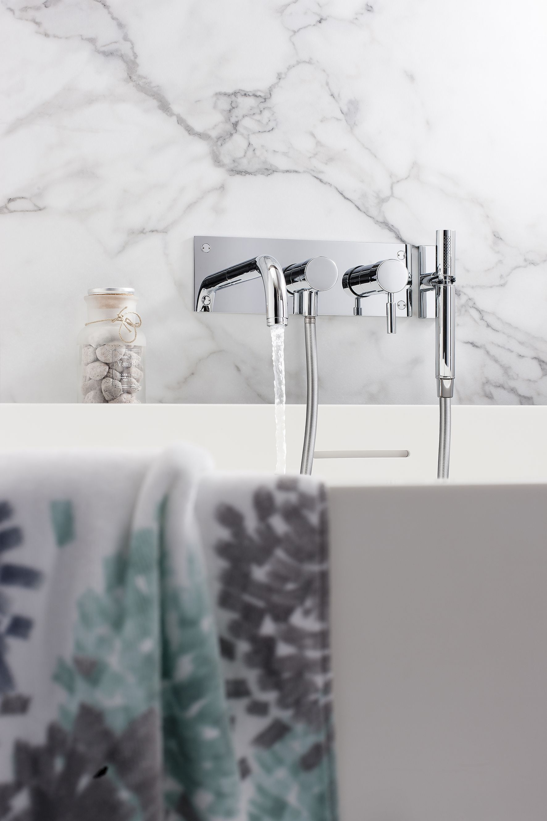 Design 3 Hole Wall Mounted Bath Tap Mixer Kit from Crosswater