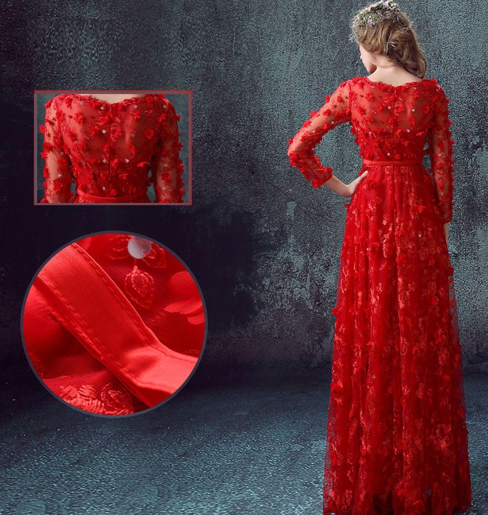 Red bride perspective longsleeved wedding dress long sleeved