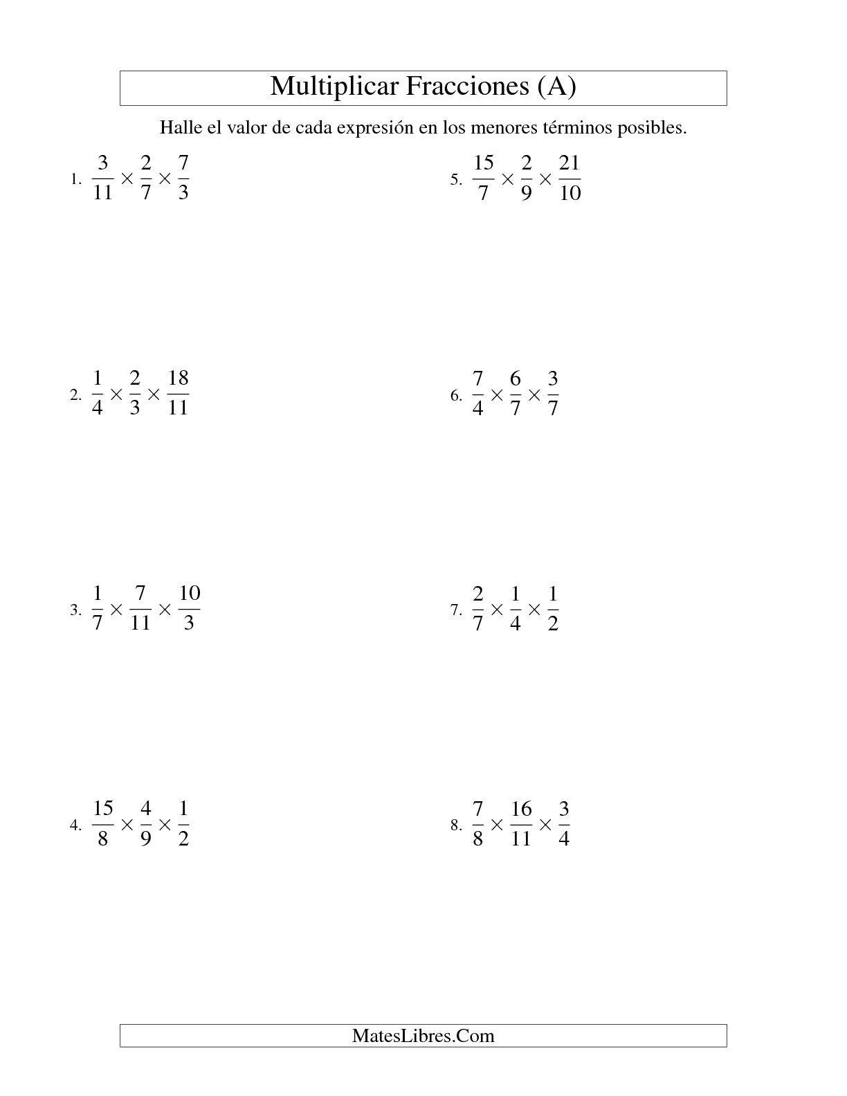 La Multiplicar Y Simplificar Tres Fracciones Impropias A