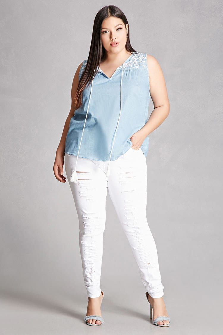c76a031a06 Forever 21+ - A chambray top featuring a sleeveless cut