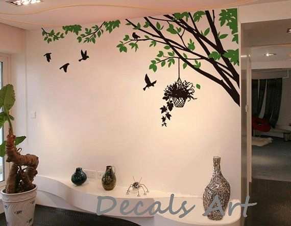 Wall Art Branch With Birds Vinyl Wall Sticker Wall Decal Tree By Decalsart 42 00 Tree Wall Painting Wall Murals Painted Wall Painting Decor