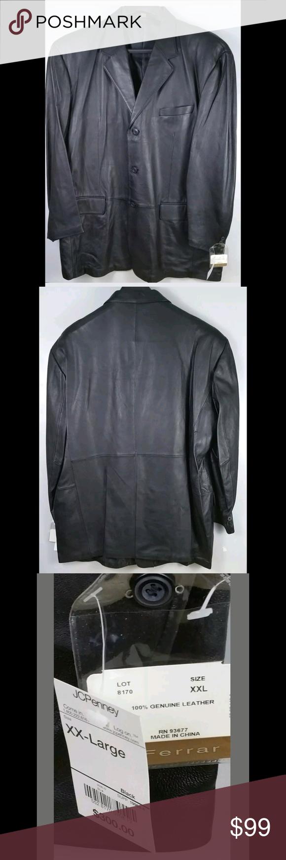 New J Ferrar Leather Jacket Mens Size Xxl Black New J Ferrar Leather Jacket Mens Xxl Color Black Re Leather Jacket Men Clothes Design Fashion Design