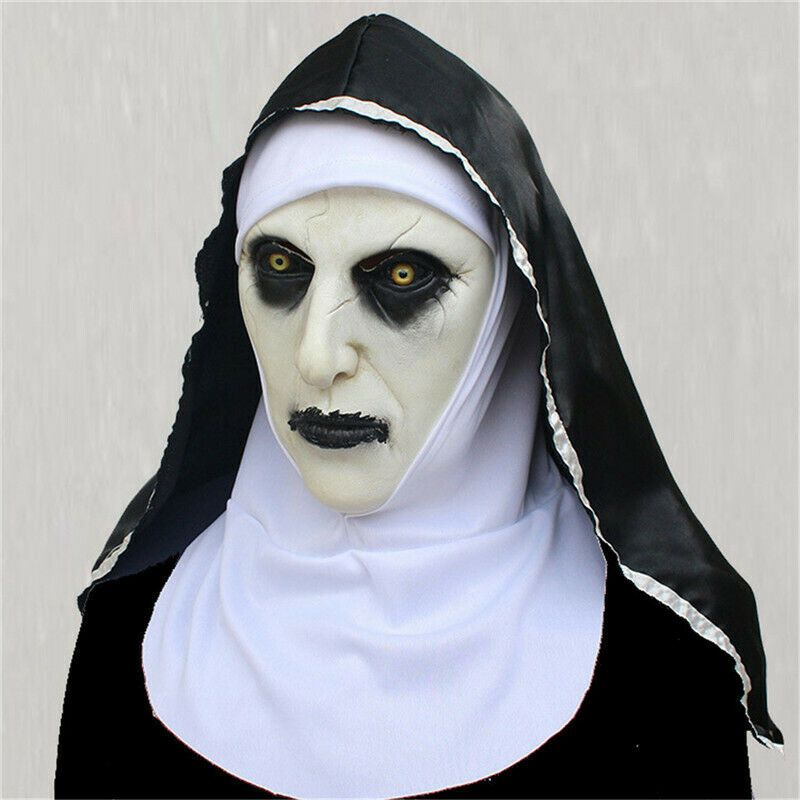 The Conjuring Nun Valak Latex Mask Headscarf Cosplay Scary Halloween Costume