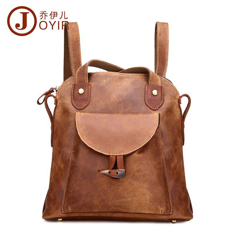 Joyir Crazy Horse Genuine Cowhide Skin Leather Women S Travel Backpack School Student Should Bag Backpack Notebook Lap Womens Backpack Leather Backpack Leather