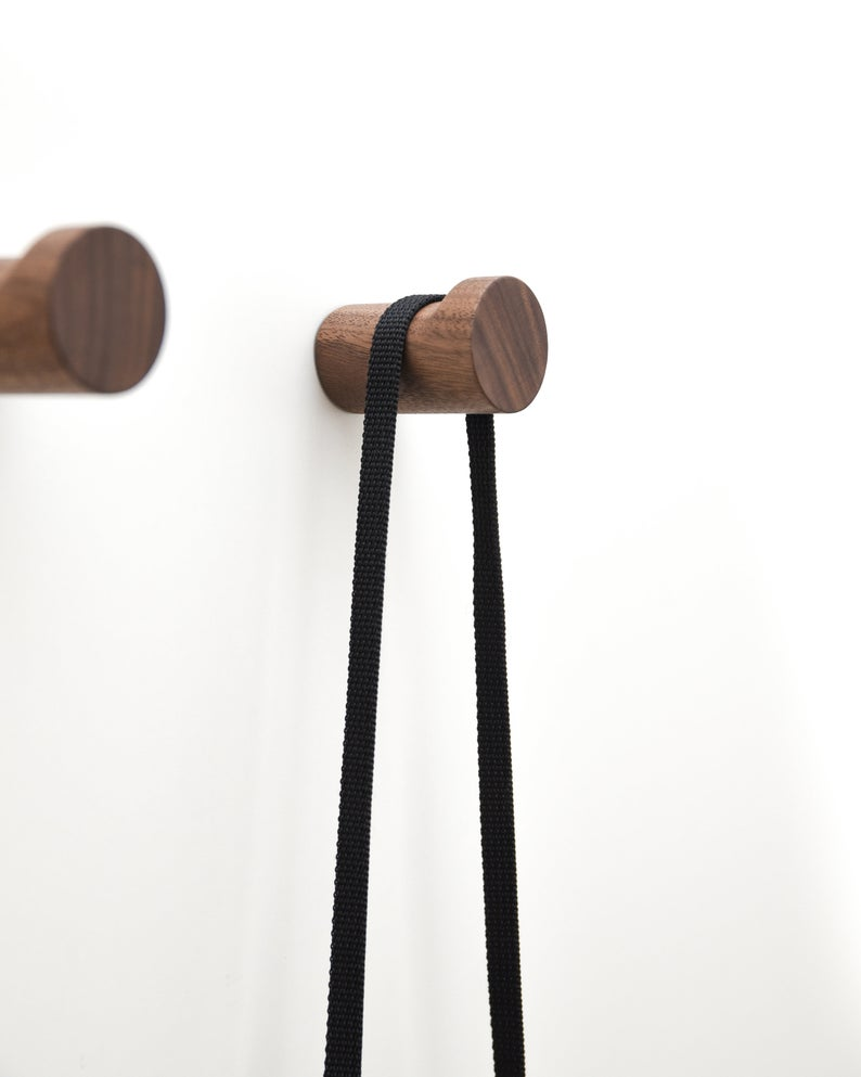 4* Solid Wooden Wall-Mounted Hook Peg Coat Hanger Pegs Rack Hooks Hangers Set